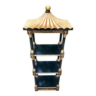 1980s Chinoiserie Black and Gilt Painted Pagoda Shelf For Sale