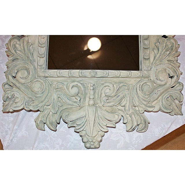 Painted Carved Mirror For Sale - Image 5 of 5