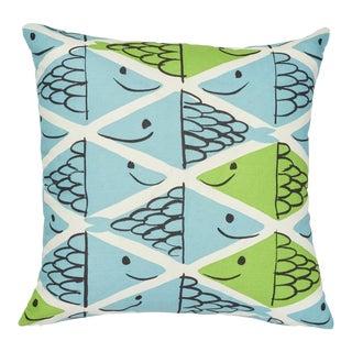 Schumacher X Vera Neumann Fish School Pillow in Aqua & Leaf For Sale
