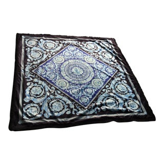 Costom Made Gianni Versace Velvet Throw Black Blue Barrocco Large 54 Inch by 54 Inch Perfect For Sale
