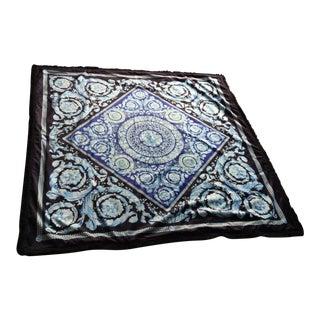 Gianni Versace Black & Blue Baroque Velvet Custom Throw For Sale