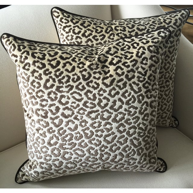 Lee Jofa High End Leopard Velvet Pillows - A Pair - Image 2 of 7