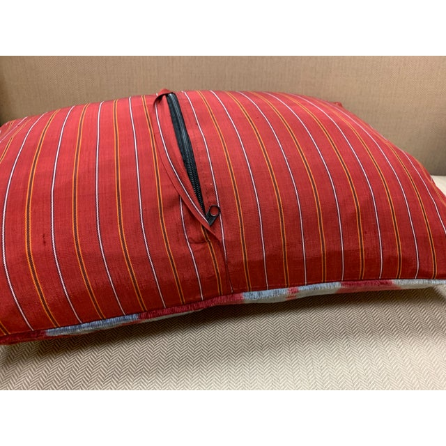 Feather Contemporary Handwoven Cotton Velvet Pillow For Sale - Image 7 of 9