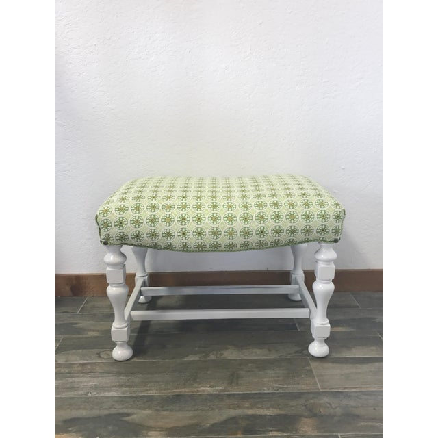 Upholstered Kediri Batik White Bench For Sale - Image 4 of 4