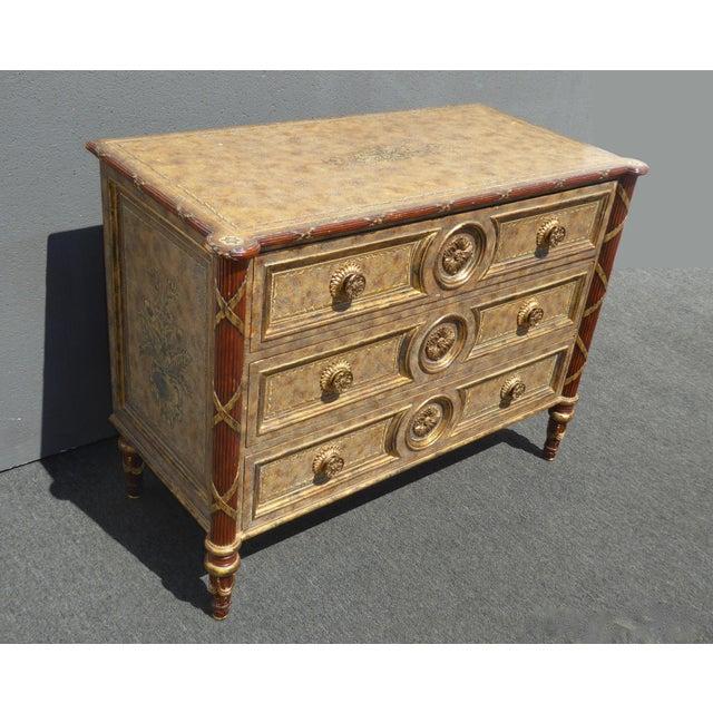 Vintage Maitland Smith Beige & Gold Ornate 3 Drawer Chest ~ Hollywood Regency Dresser For Sale - Image 13 of 13