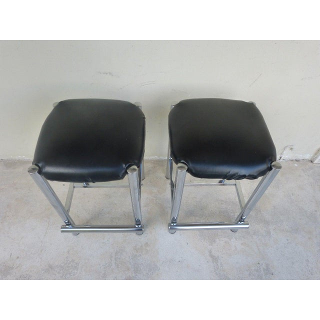 1970's Backless Chrome Bar Stools - a Pair For Sale In Miami - Image 6 of 10