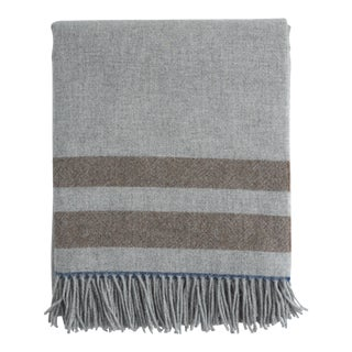 FirmaMenta Italian Blue Beige and Grey Alpaca Throw For Sale