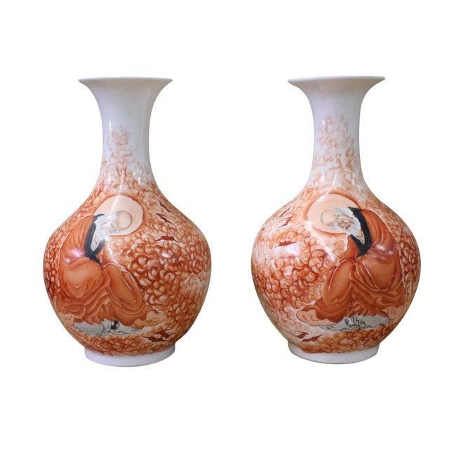 Chinese White Orange Amitayus Porcelain Vases - A Pair For Sale
