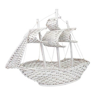 Mid 20th Century White Wicker Ship For Sale