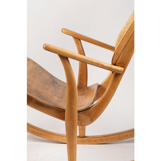 Brown 1940s Vintage Ilmari Tapiovaara Rocking Chair For Sale - Image 8 of 13