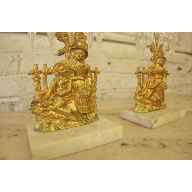 1850s Antique Cast Brass Victorian Girandoles - a Pair - Image 6 of 11