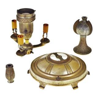 Vintage Cast Metal Colonial Premiere Floor Lamp Parts - Set of 4