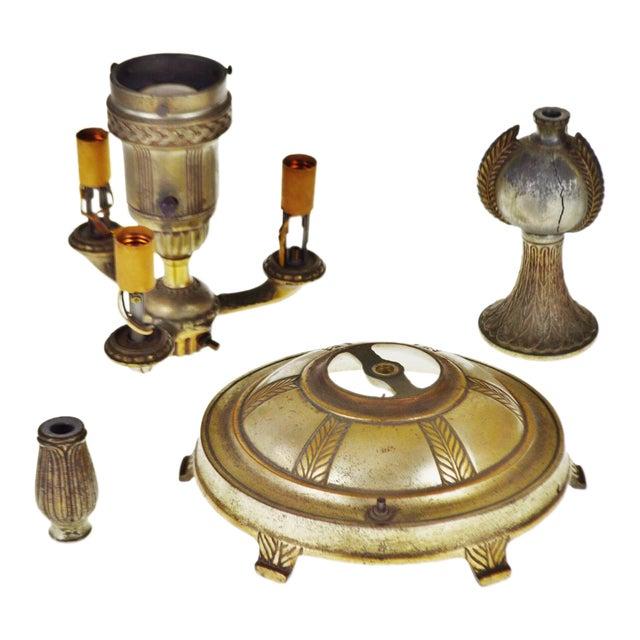 Vintage Cast Metal Colonial Premiere Floor Lamp Parts Set Of 4