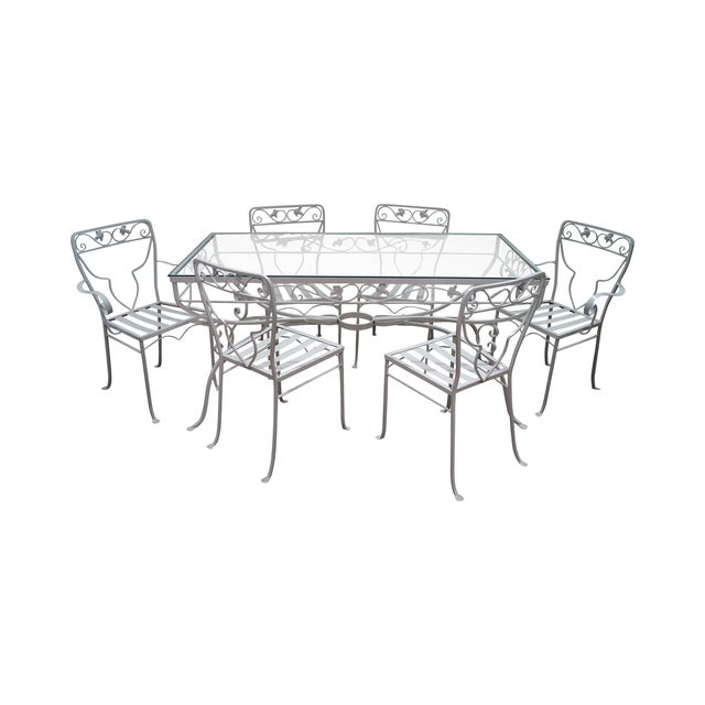 Vintage White Painted Iron Patio Dining Set - Image 1 of 7