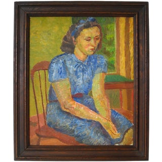 """Jennings Tofel """"Portrait of a Young Woman"""" Oil on Canvas, 1949 1949 For Sale"""