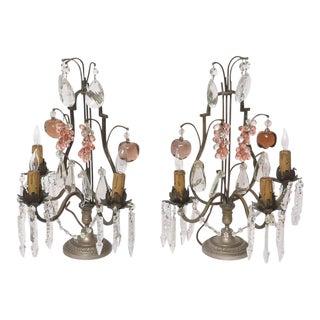 1920s Louis XV Bronze and Crystal 3-Light Girandoles - a Pair