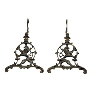 Late 19th Century Antique Lion Design Hardware - A Pair For Sale