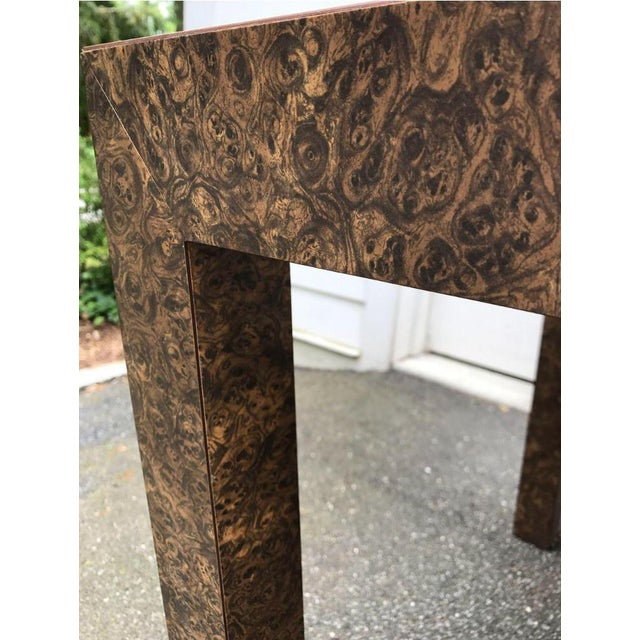 Wood Vintage Burl Wood Laminate Parsons Style Dining Table For Sale - Image 7 of 9