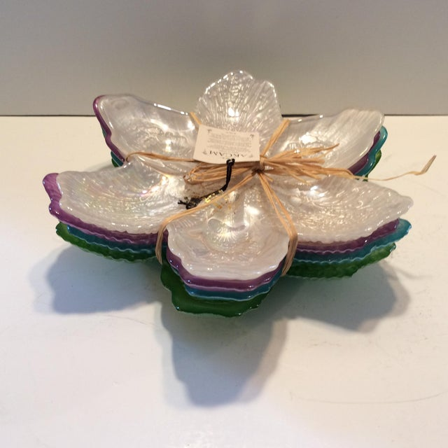 Crystal Opalescent Flower Plates By Quot Akcam Quot Set Of 4