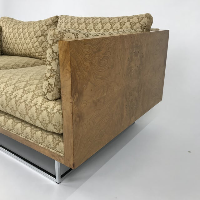 Chrome 2 Seater Olive Burl Sofa With Chrome Base Designed by Milo Baughman for Thayer Coggin For Sale - Image 7 of 13