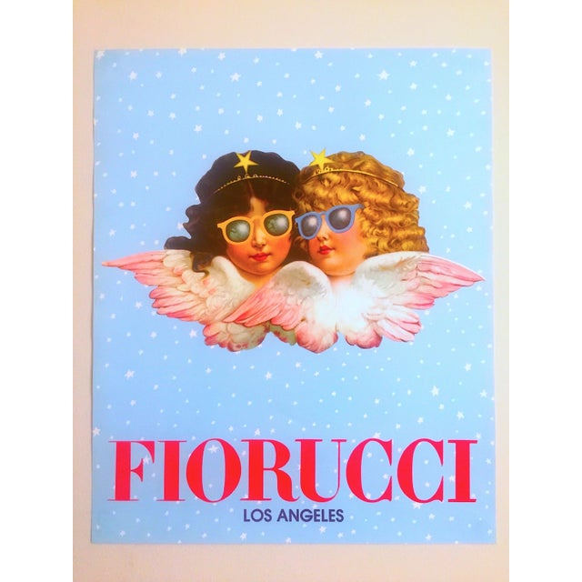 Vintage 1980 Rare Fiorucci New Wave Italian Fashion Iconic Cherub Angels Post Modern Pop Art Poster For Sale - Image 9 of 9