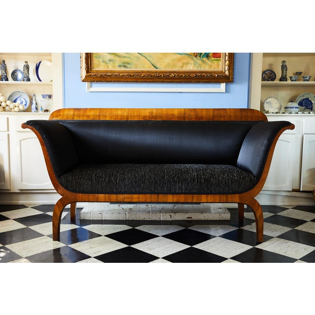Early 19th Century Biedermeier Sofa of Cherry in Black Horsehair Fabric For Sale - Image 10 of 12