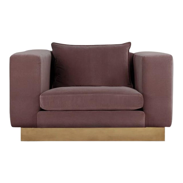Contemporary Dusty Lavender Mohair Velvet Lounge Club Chair For Sale