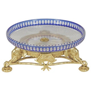 Cobalt Cut to Clear Crystal Centerbowl With Gilt Bronze Base For Sale