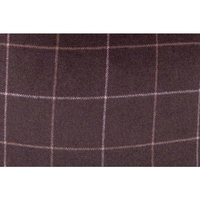 Chocolate Brown Plaid Wool Pillows - A Pair - Image 3 of 4