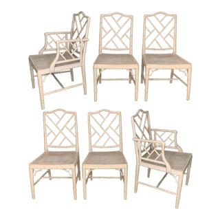 Chinese Chippendale Faux Bamboo Dining Chairs For Sale