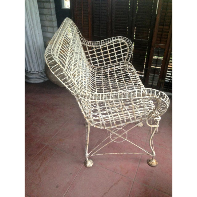 1870s Vintage French Double Wired Iron Wire Victorian Garden Patio Settee For Sale - Image 4 of 13