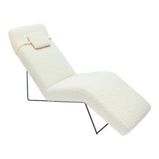 Custom Mid Century Style Metal and Ivory Chaise Chair For Sale