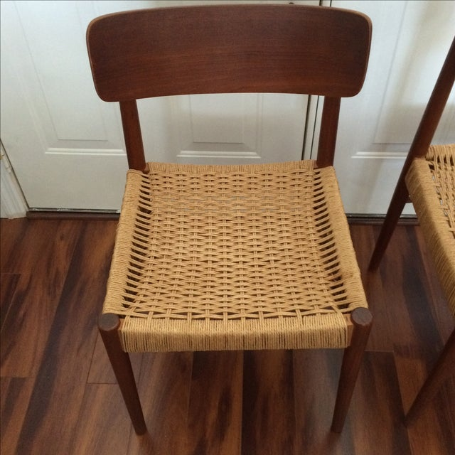Vintage Danish Modern Rope Seat Chairs - A Pair - Image 5 of 6