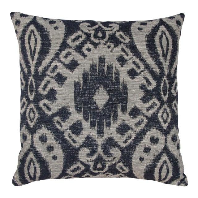 Indigo & Grey Woven Ikat Pillow - Image 1 of 4