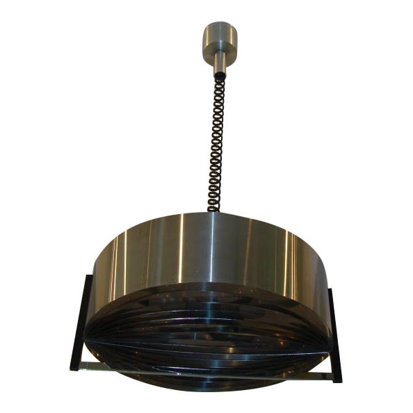 Vintage French Modernist Stainless Steel Hanging Light - Image 1 of 4
