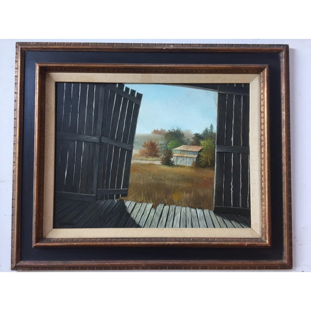 Vintage Barn Landscape Painting Signed by Drago - Image 2 of 9