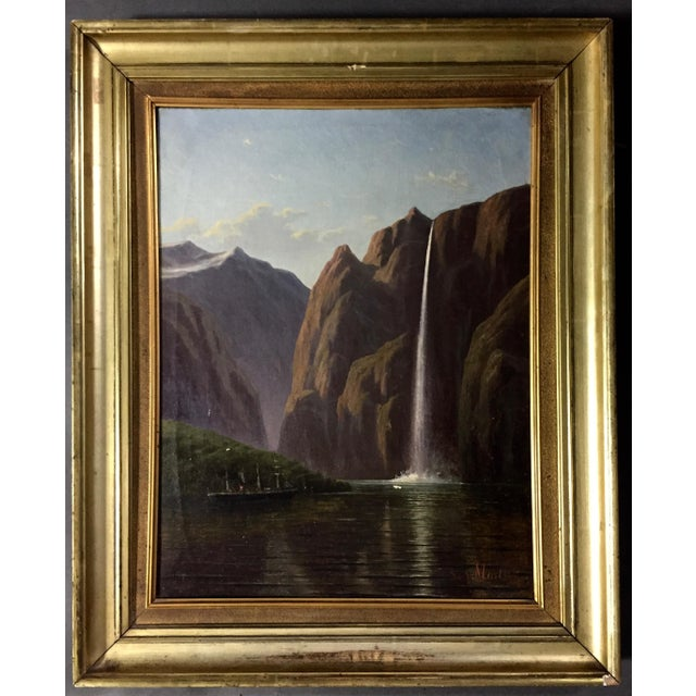 C1873 Danish Painting of a Waterfall and Steamer For Sale - Image 9 of 9