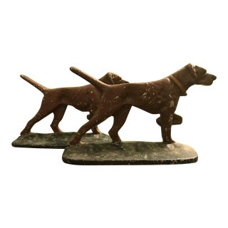 Painted Cast Metal Pointer Dog Bookends
