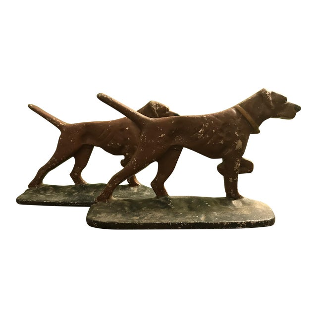 Painted Cast Metal Pointer Dog Bookends - Image 1 of 6