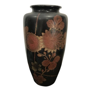 Japanese Black Lacquered Vase For Sale