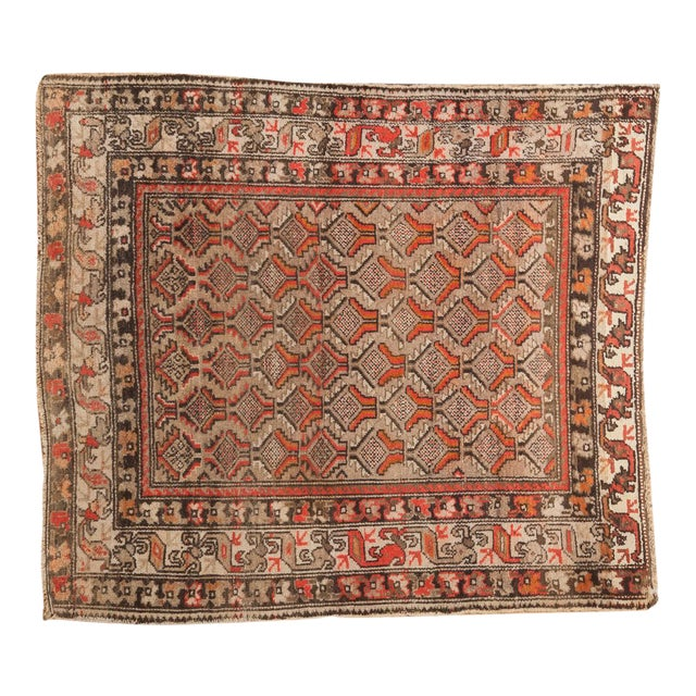 """Antique Hamadan Square Rug - 4'1"""" x 4'9"""" For Sale"""