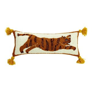 "Tiger Pom Pom Hook Pillow, 8"" x 22"" For Sale"