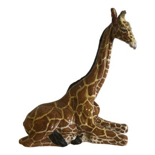 Vintage Mid-Century Italian Ceramic Seated Giraffe Model