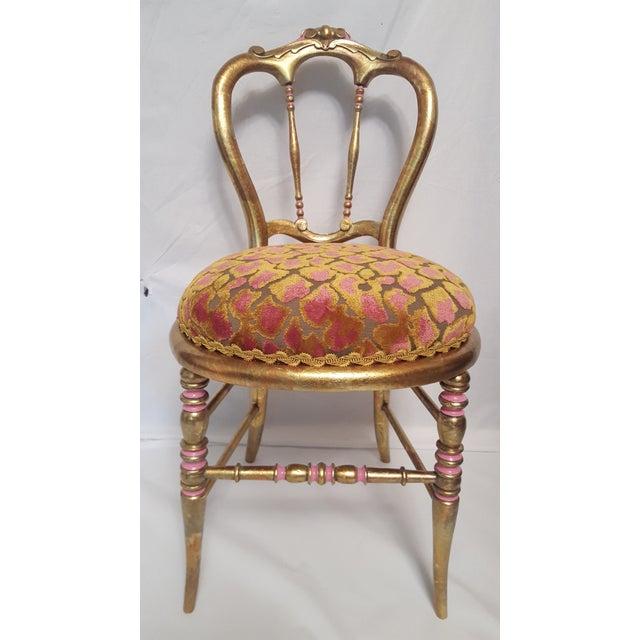Hollywood Regency Gold-Leafed & Leopard Velvet Vanity Chair - Image 2 of 8