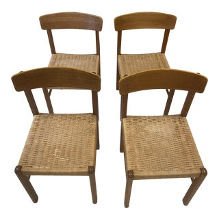 Danish Cord Seat Dining Chairs For Sale