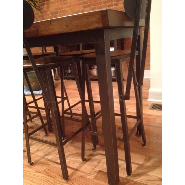 Custom Furniture Builders Industrial Counter-Height Table and Stools Custom Set For Sale - Image 4 of 5