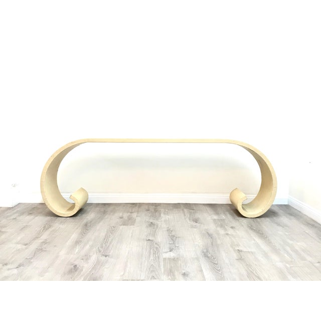 Beautiful cream raffia waterfall console table, Some wear and tear but the metal structure is solid.