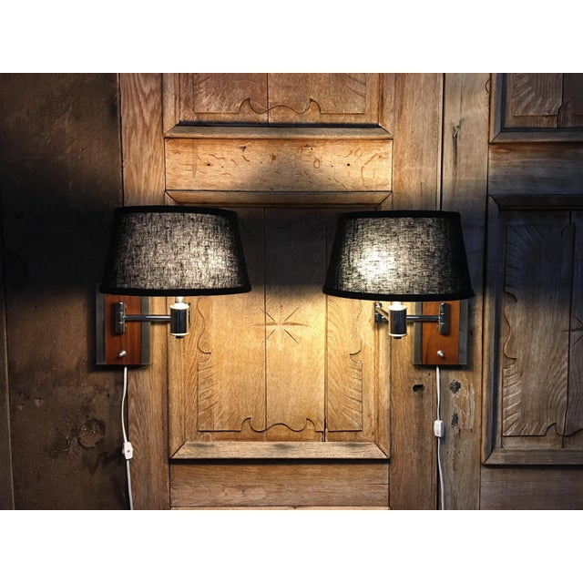 Mid-Century Modern Walnut and Chrome Articulated Sconces - a Pair For Sale - Image 12 of 13