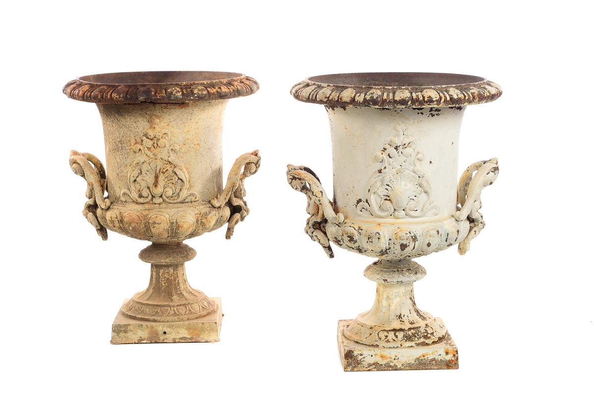 19th Century Antique French Cast Iron Garden Urns  A Fabulous Pair Size 15  X 15