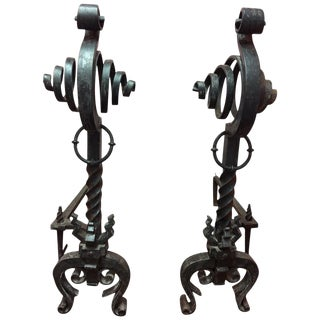 Pair of French Black Iron Scroll Top Andirons, 19th Century For Sale